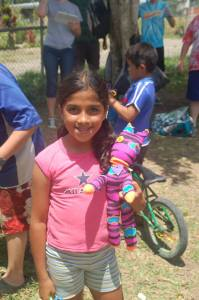 A sweet smile after receiving one of the Sock Creatures we made and handed out